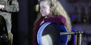 Taking a rest during a performance by young musicians from Laois