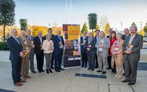 Pictured at county hall for the Launch of the Laois Leaves Literary Festival were minister Charles Flanagan, Tom Mulhall, Cathaoirleach Laois Co Co, Muireann Ni Chonail, Laois arts officer and invited guests Photo: Denis Byrne